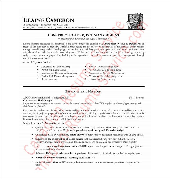 Free Resume Templates Pdf Construction Resume Template – 9 Free Word Excel Pdf