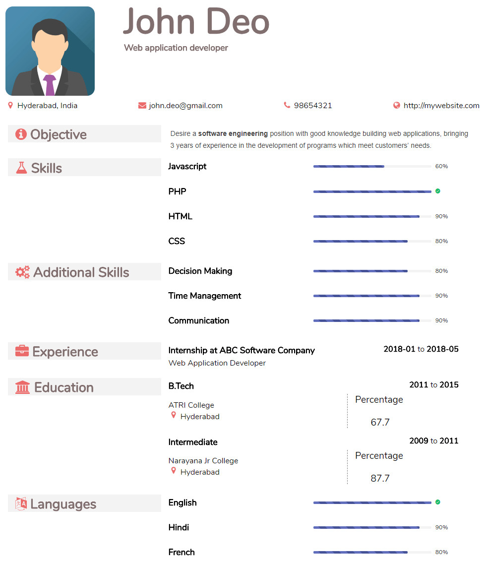 Free Resume Templates Pdf Resume In Pdf format Create & Download Resume formats