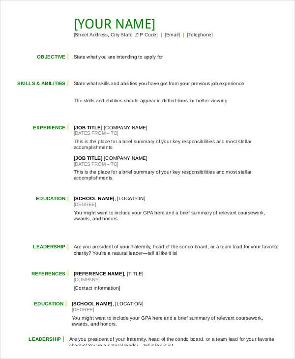 Free Resume Templates Pdf Resume In Word Template 24 Free Word Pdf Documents