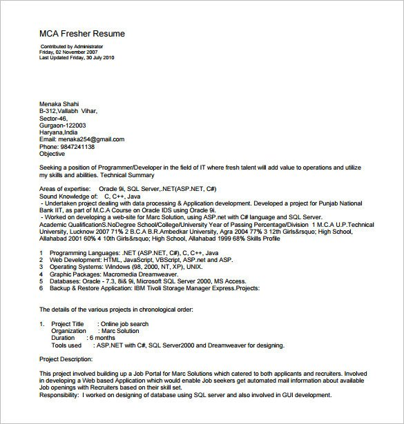 Free Resume Templates Pdf Resume Template for Fresher – 10 Free Word Excel Pdf