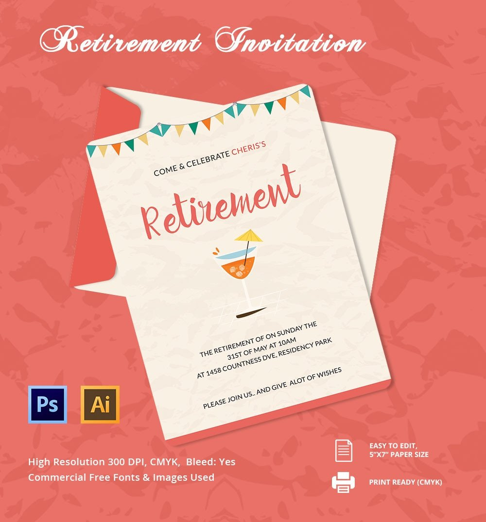 Free Retirement Invitation Templates 25 Retirement Invitation Templates Psd Vector Eps Ai
