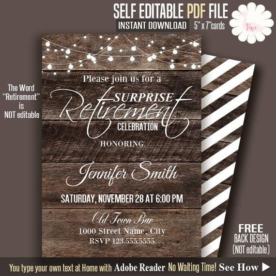 Free Retirement Invitation Templates Retirement Invitation Rustic Retirement Invite Printable