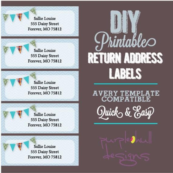 Free Return Label Template Pennant Banner Bunting Return Address Labels Avery Template