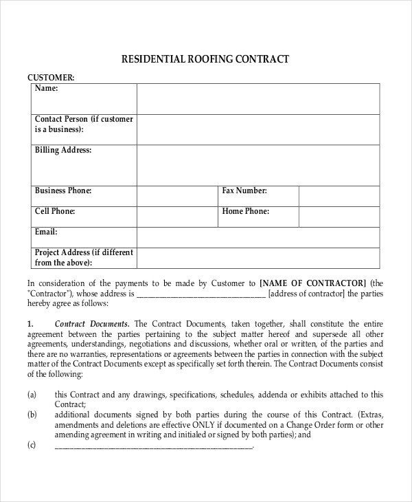 Free Roofing Contract Template 33 Contract Templates Word Docs Pages