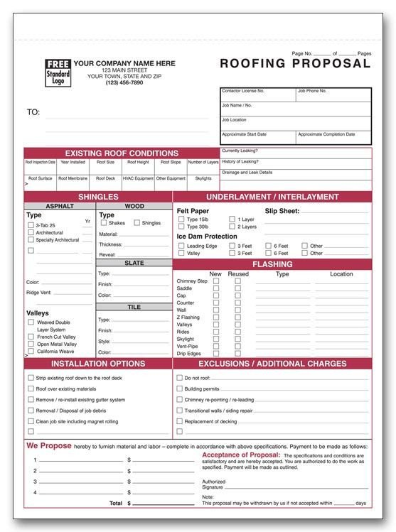 Free Roofing Contract Template Printable Roofing Estimate Sheet