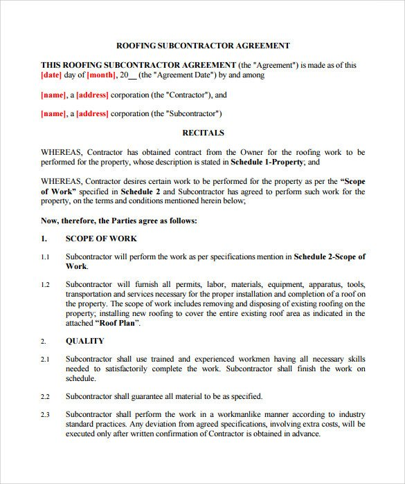 Free Roofing Contract Template Roofing Contract Template 13 Download Documents In Pdf