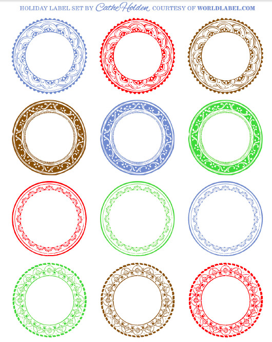Free Round Label Templates Free Festive Holiday Label Kits by Cathe Holden