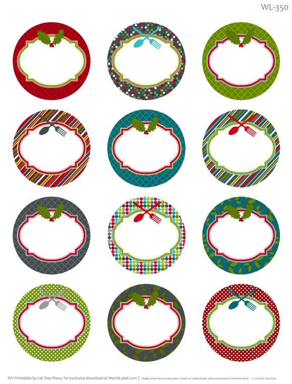Free Round Label Templates Printable Christmas Labels for Homemade Baking