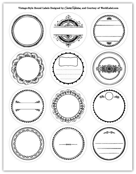 Free Round Label Templates Round Labels In A Vintage Style Design