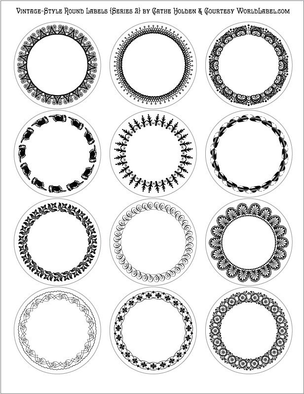 Free Round Label Templates Vintage Style Round Labels by Cathe Holden Series 2