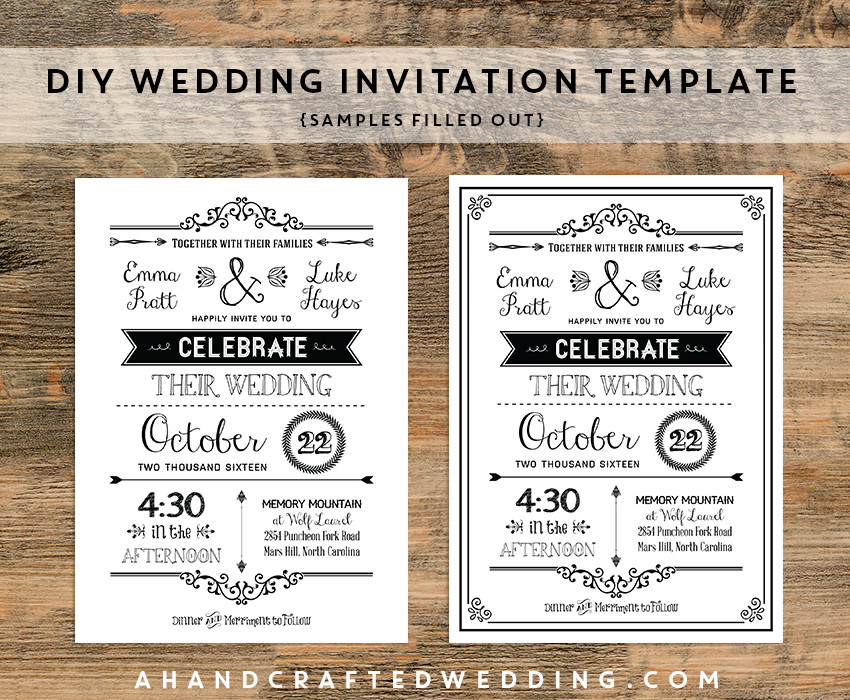 Free Rustic Wedding Invitation Templates Diy Black Rustic Wedding Invitation Templates Samples
