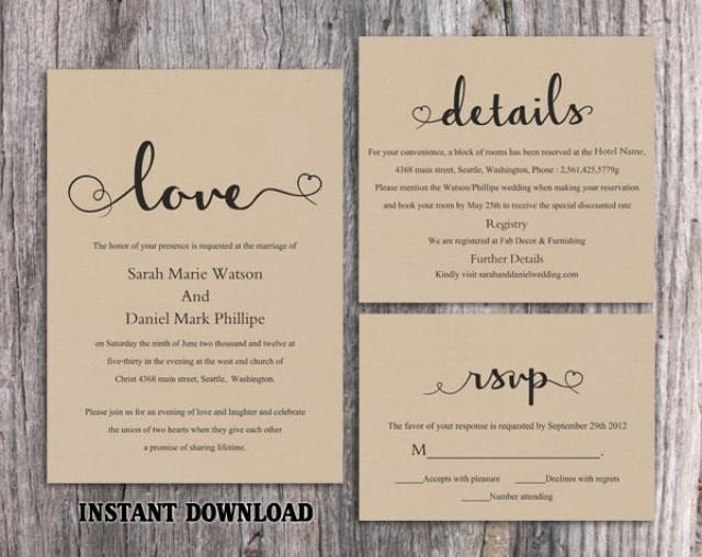 Free Rustic Wedding Invitation Templates Diy Burlap Wedding Invitation Template Set Editable Word