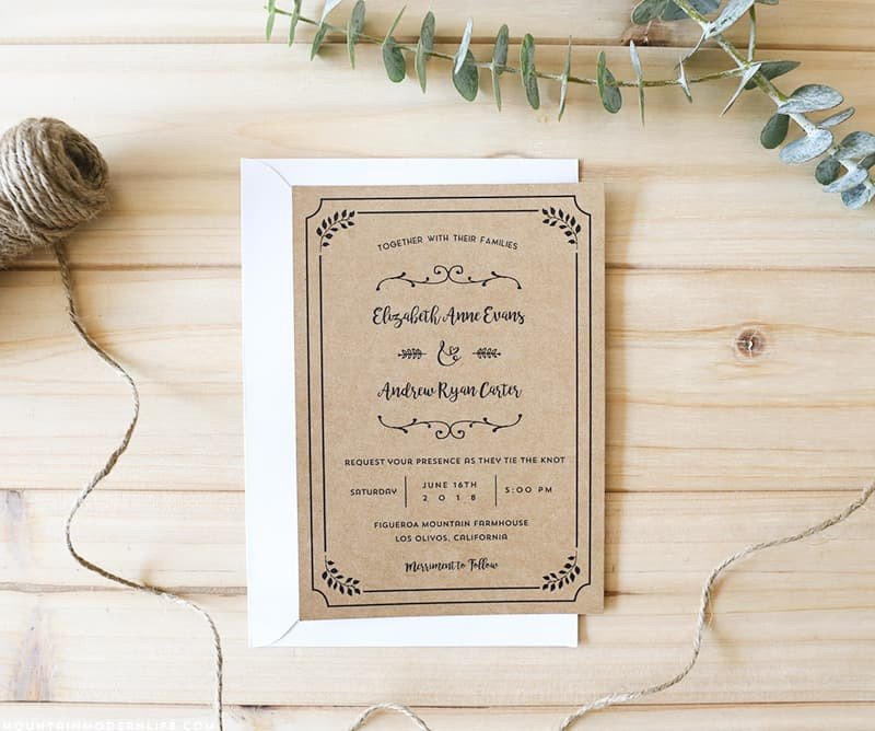 Free Rustic Wedding Invitation Templates Free Printable Wedding Invitation Template