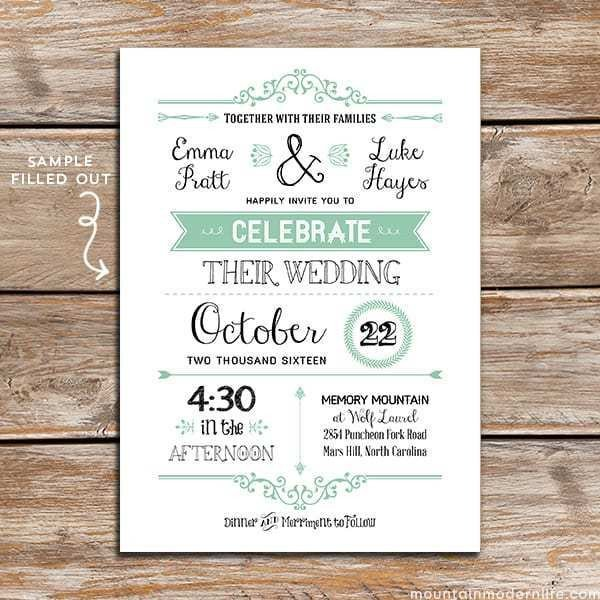 Free Rustic Wedding Invitation Templates Free Wedding Invitation Template