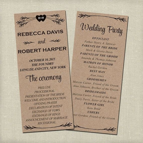 Free Rustic Wedding Program Templates Best 25 Wedding Program Templates Ideas On Pinterest