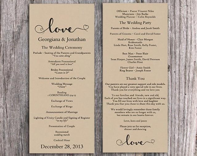 Free Rustic Wedding Program Templates Burlap Wedding Program Template Diy Editable Word File