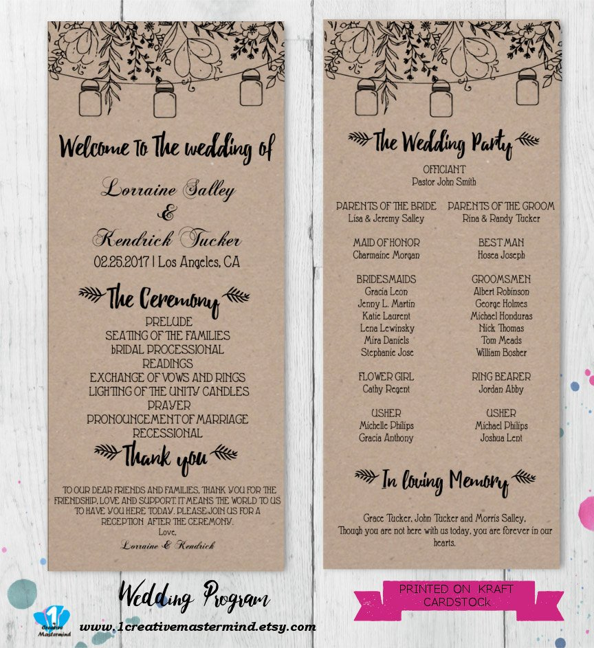 Free Rustic Wedding Program Templates Diy Rustic Wedding Program Template Printable Editable