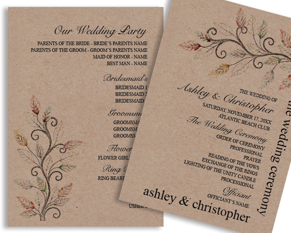 Free Rustic Wedding Program Templates Rustic Diy Ideas for Planning Your Dream Wedding – Vg