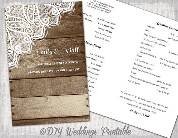 Free Rustic Wedding Program Templates Rustic Wedding Program Printable Program Template Wood