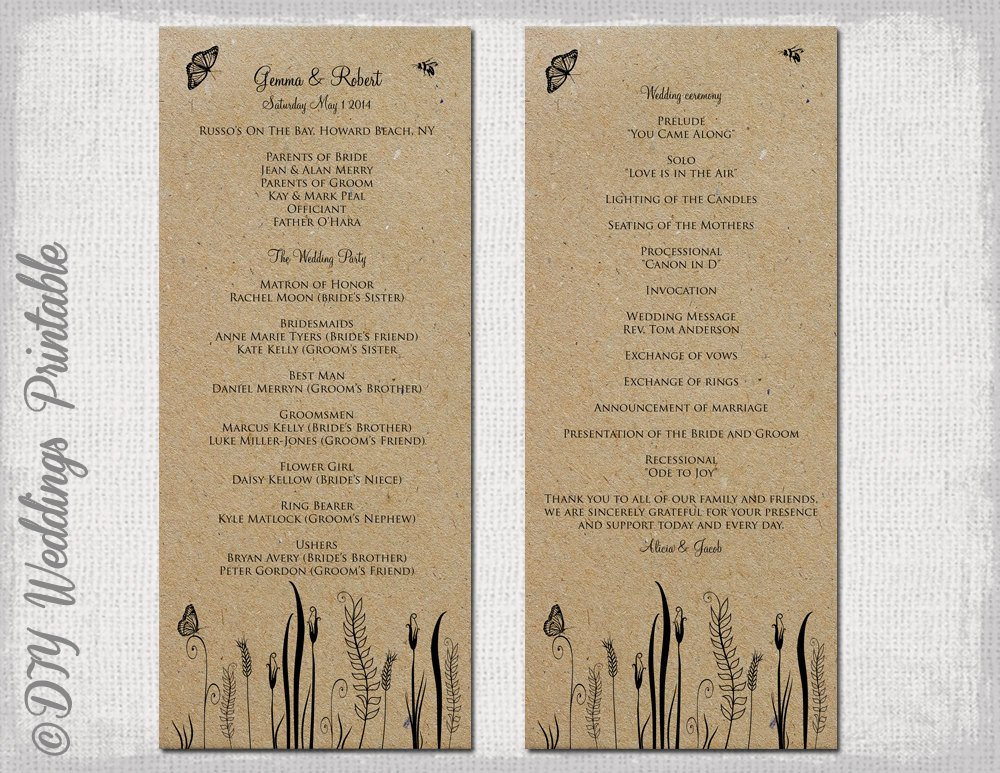 Free Rustic Wedding Program Templates Rustic Wedding Program Template butterfly Meadow