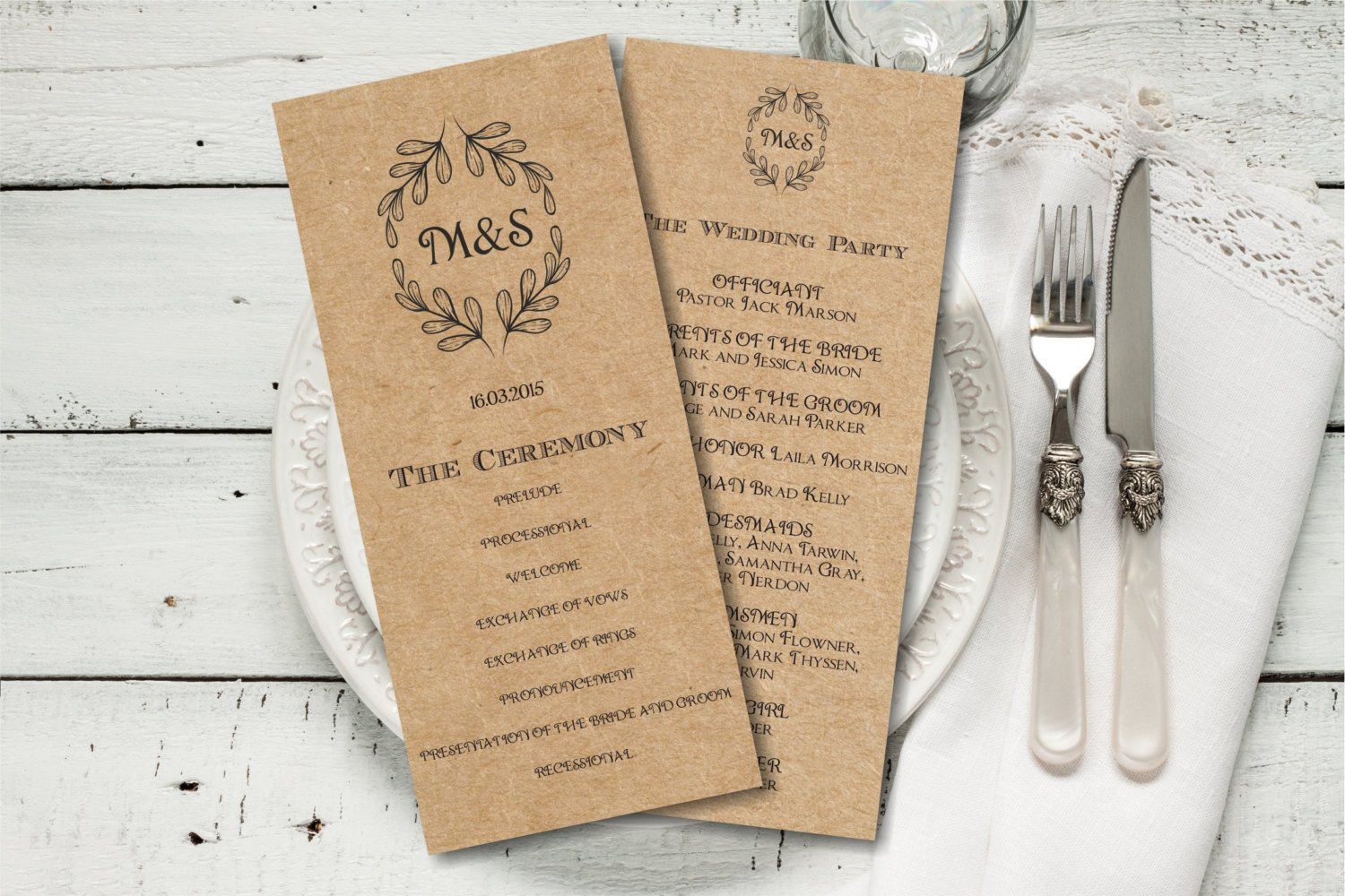 Free Rustic Wedding Program Templates Rustic Wedding Program Template Download Editable Text Kraft