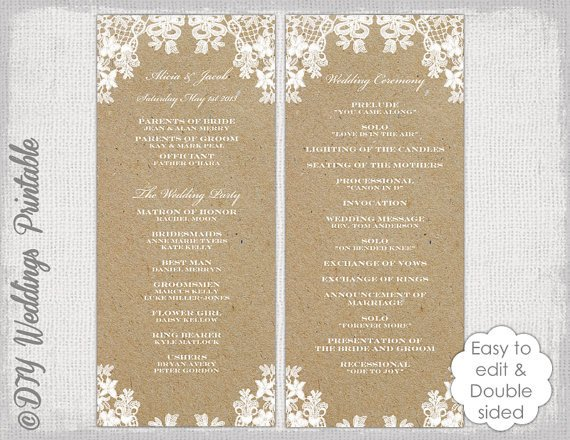 Free Rustic Wedding Program Templates Rustic Wedding Program Template Rustic Lace Diy