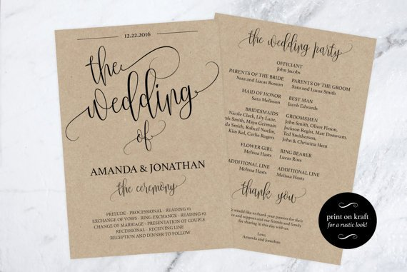 Free Rustic Wedding Program Templates Wedding Program Printable Printable Wedding Program