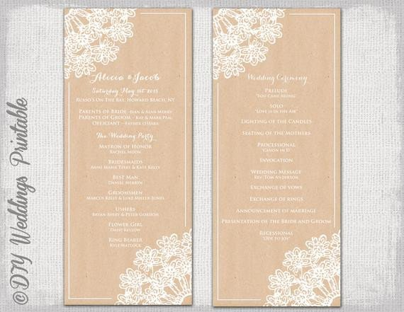 Free Rustic Wedding Program Templates Wedding Program Template Rustic Wedding by