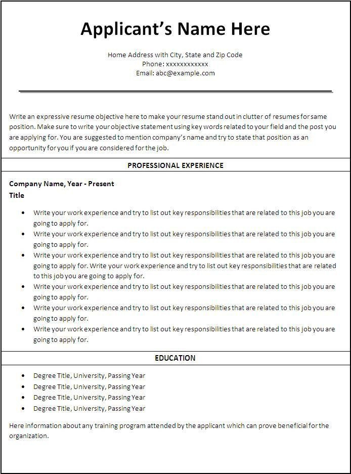 Free Sample Resume Templates Free Printable Sample Resume Templates