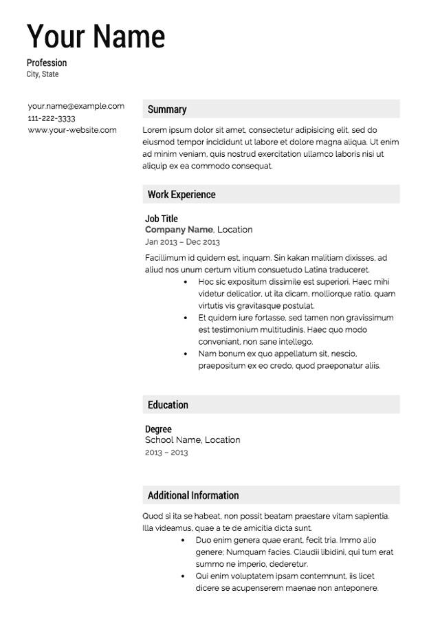 Free Sample Resume Templates Free Resume Templates