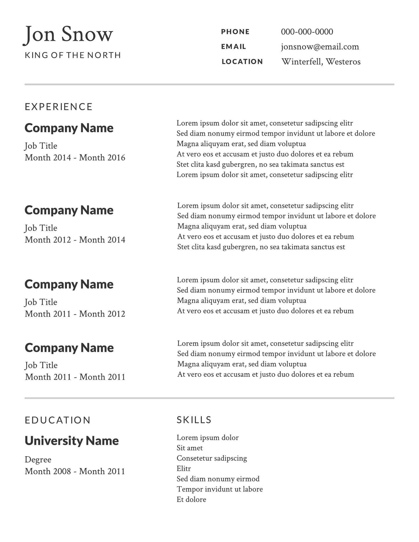 Free Sample Resume Templates Free Simple or Basic Resume Templates