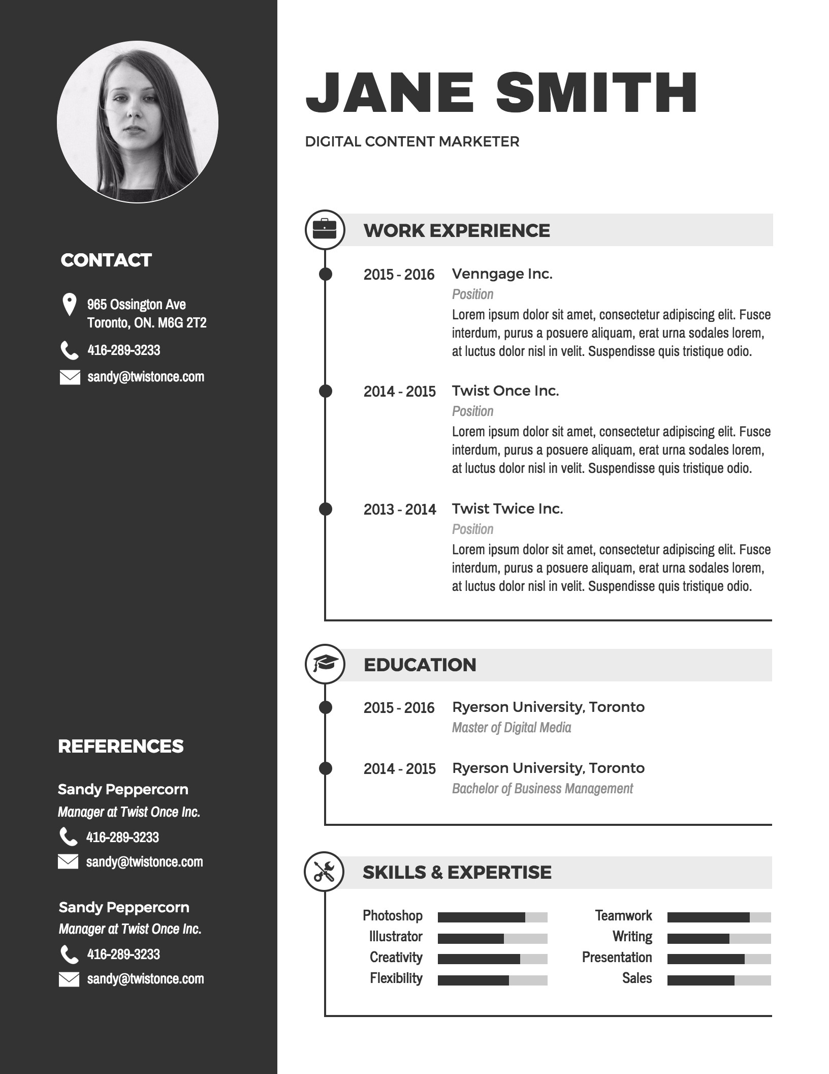 Free Sample Resume Templates Infographic Resume Template Venngage