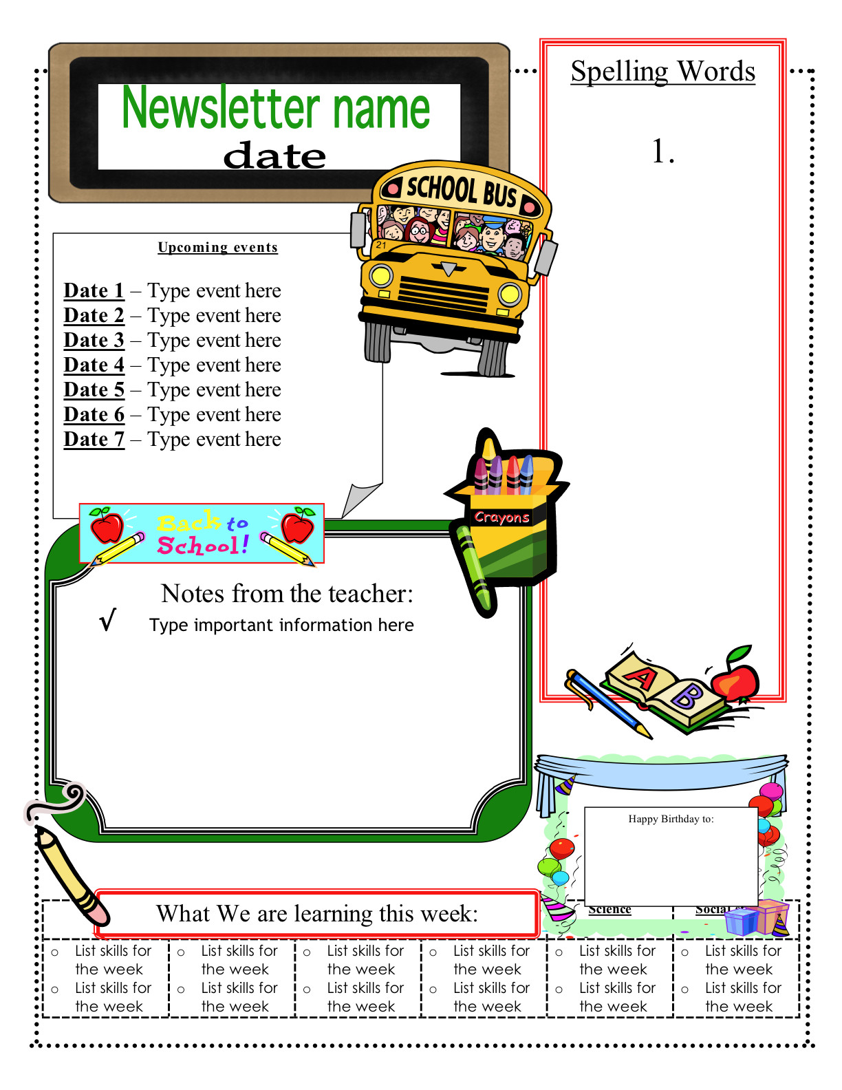 Free School Newsletter Templates 3 6 Free Resources June 2012