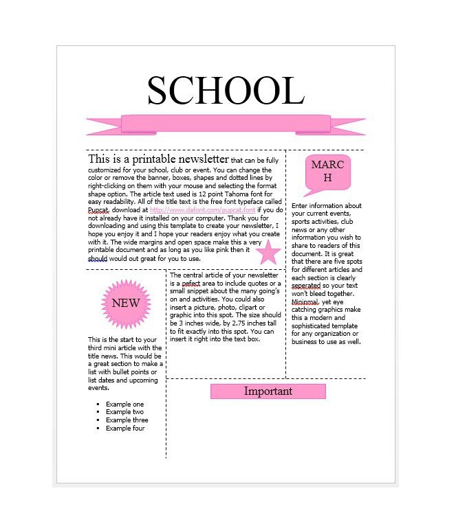 Free School Newsletter Templates 50 Free Newsletter Templates for Work School and Classroom