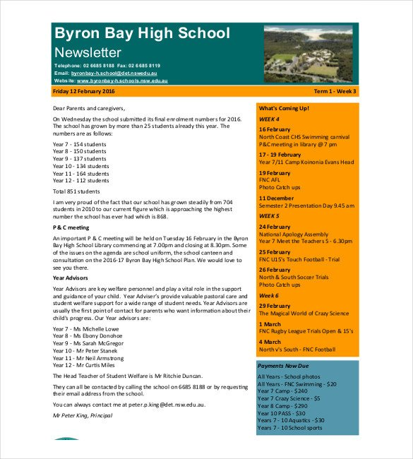 Free School Newsletter Templates 7 School Newsletter Templates Free Sample Example