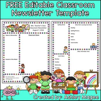 Free School Newsletter Templates Free Editable Teacher Newsletter Template by Mrs Magee
