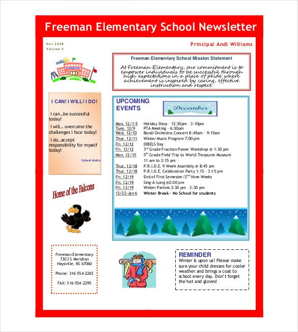 Free School Newsletter Templates School Newsletter Template 7 Word Pdf Psd Documents