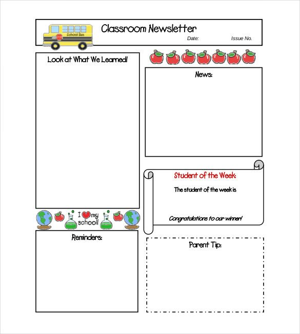 Free School Newsletter Templates Word Newsletter Template – 31 Free Printable Microsoft