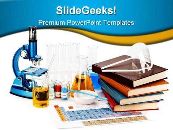 Free Science Powerpoint Templates Books Flasks Science Powerpoint Template 0810