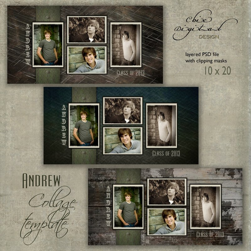 Free Senior Templates for Photoshop 10 X 20 Senior Collage Template andrew 10x20