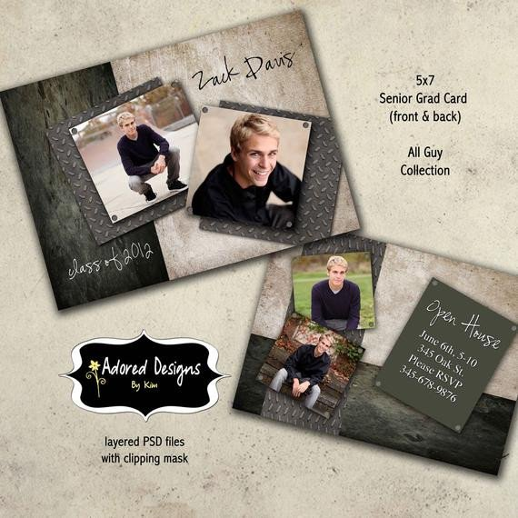 Free Senior Templates for Photoshop Guy Graduation Announcement Shop Template Card Instant