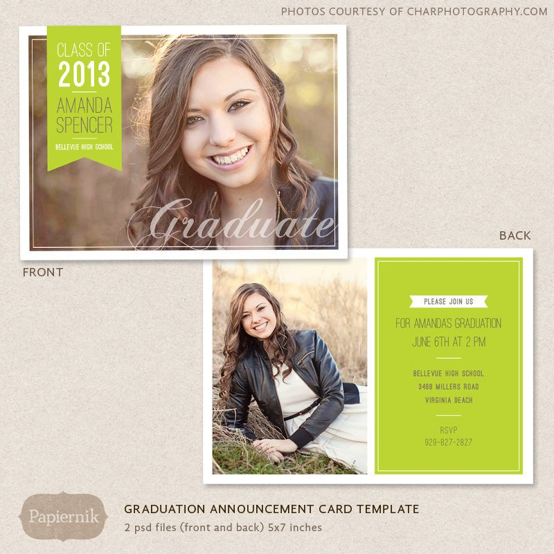 Free Senior Templates for Photoshop Senior Graduation Announcement Template for Graphers Psd