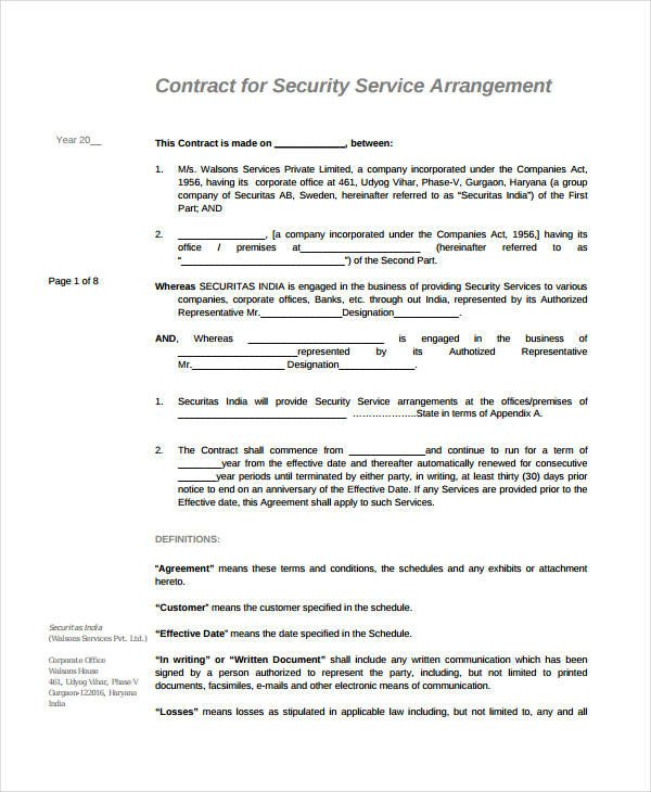 Free Service Contract Template 21 Simple Service Agreements Word Pdf