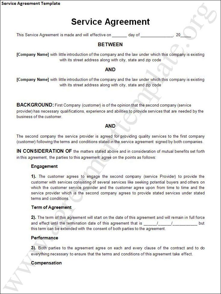Free Service Contract Template Agreement Template Category Page 1 Efoza
