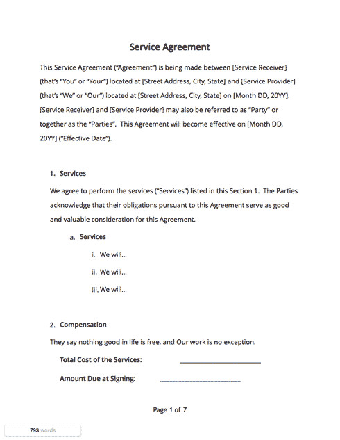 Free Service Contract Template Contract Templates and Agreements with Free Samples