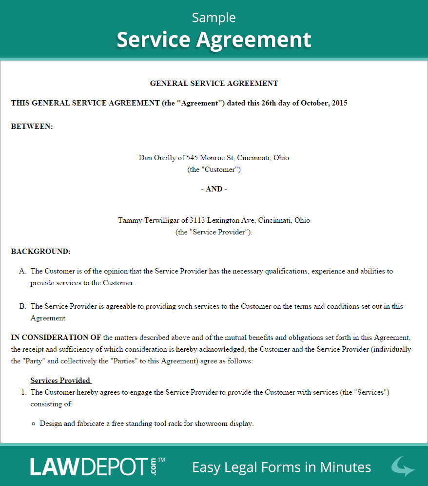 Free Service Contract Template Free Service Agreement Create Download and Print