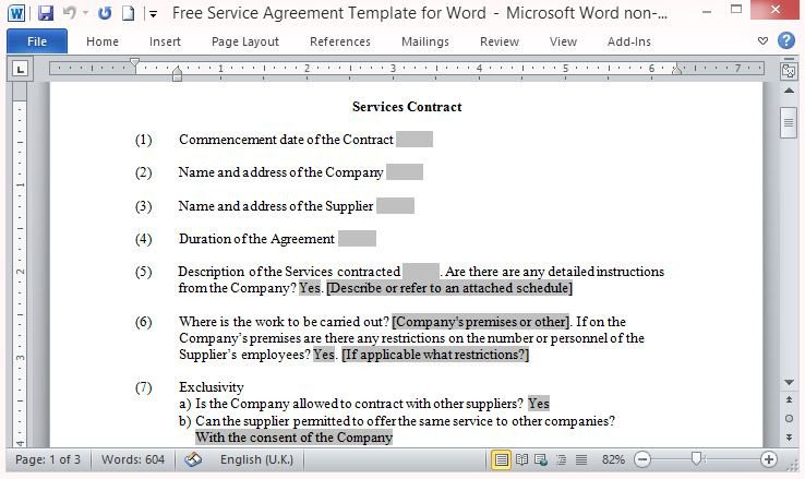 Free Service Contract Template Free Service Agreement Template for Word