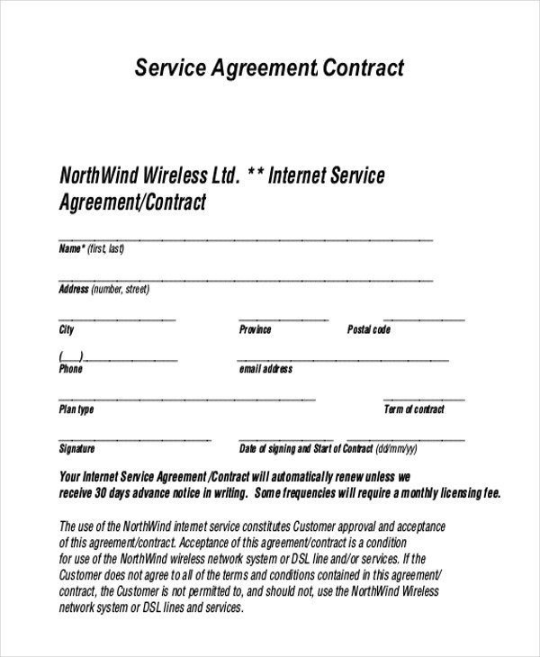 Free Service Contract Template Sample Service Agreement form 9 Free Documents In Pdf