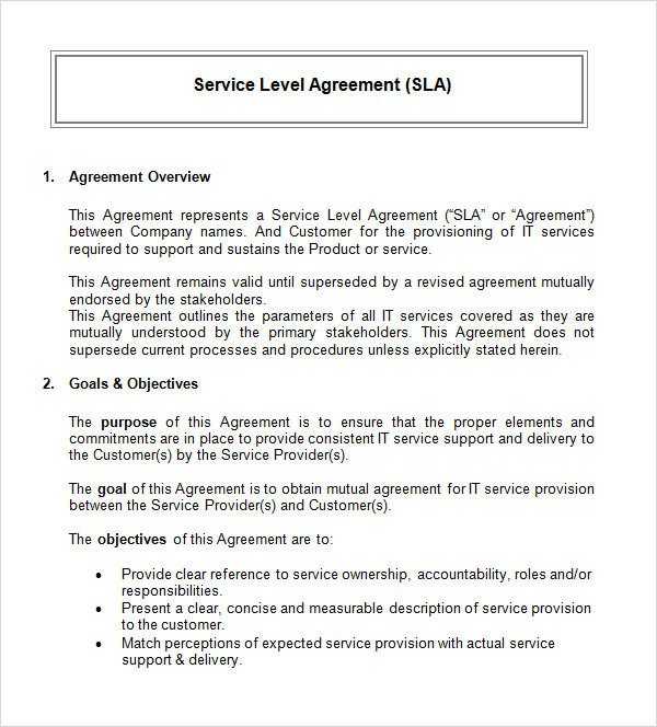 Free Service Contract Template Service Level Agreement 17 Download Free Documents In