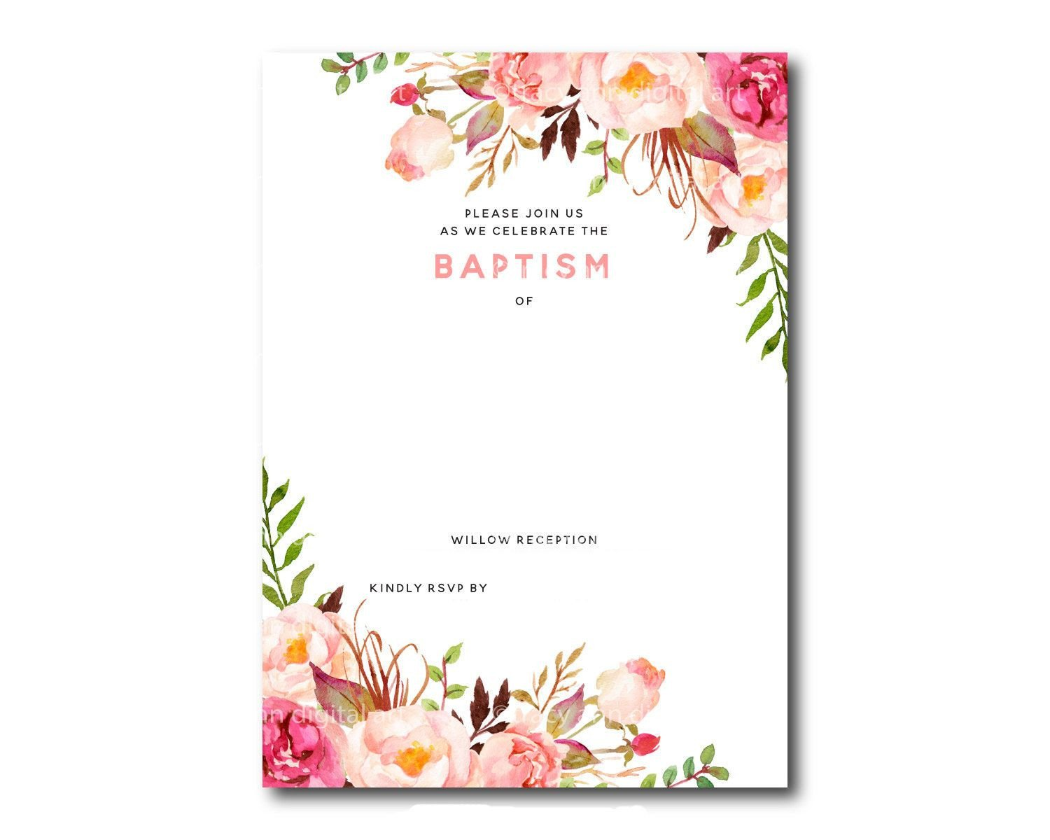 Free Shower Invitation Template Awesome Free Template Free Printable Baptism Floral